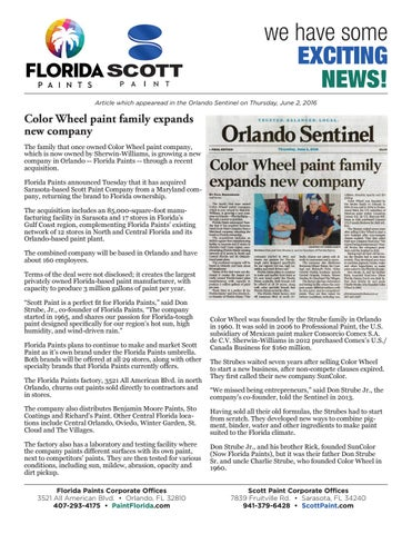 Orlando Sentinel Article By Florida Paints Issuu