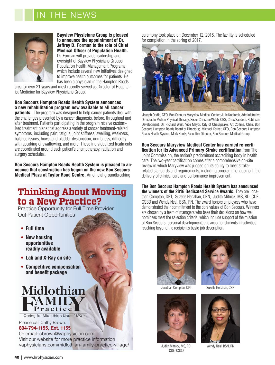 Advance physical therapy magazine - Hampton Roads Physician Winter 2017 By Hampton Roads Physician Magazine Issuu