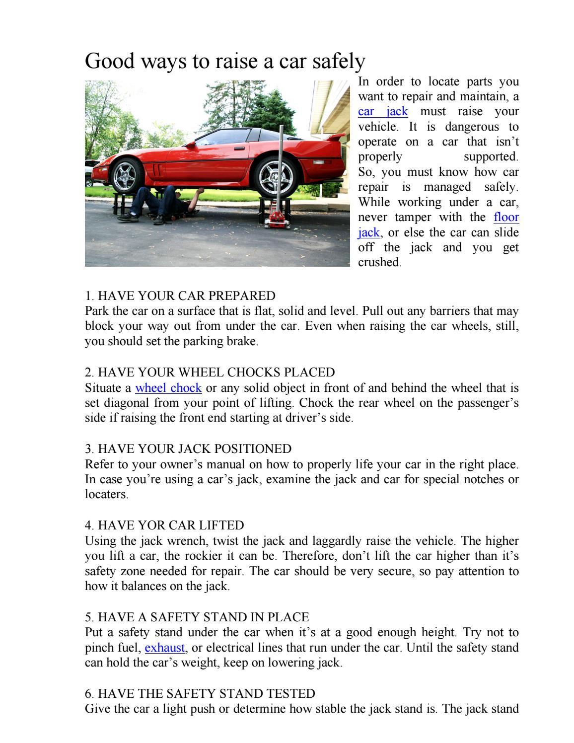 How to raise the car