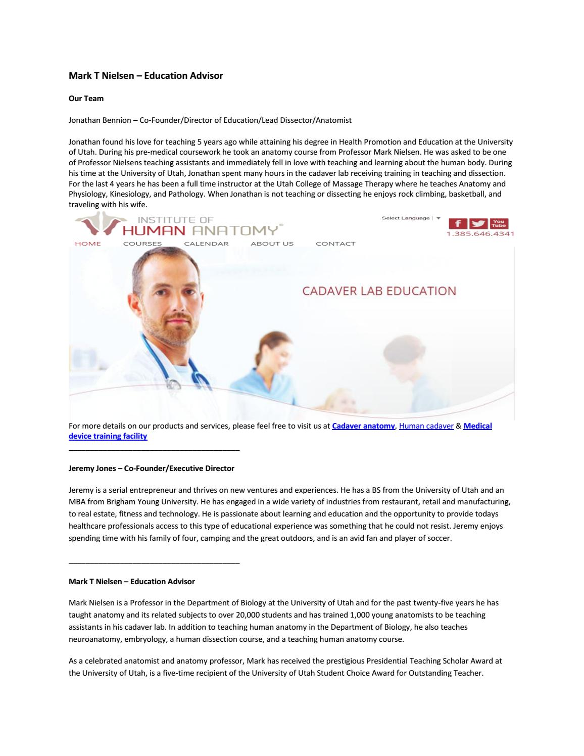 Mark t nielsen – education advisor by Human dissection - issuu