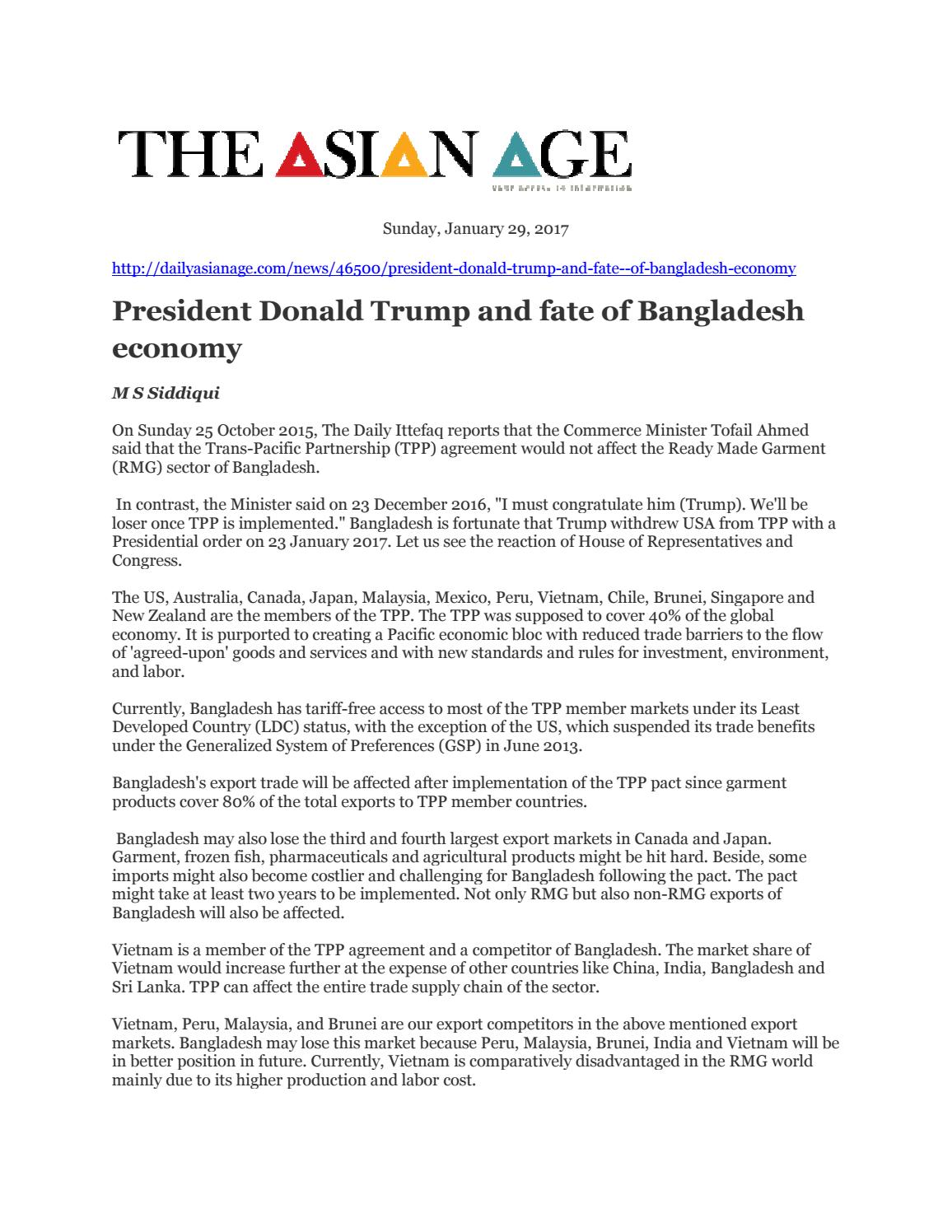 President donald trump and fate of bangladesh economy by