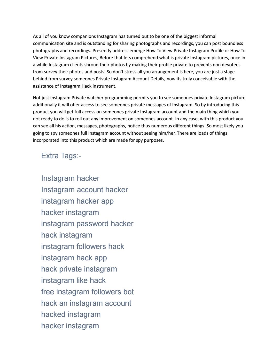 INSTAGRAM ACCOUNT HACKER by Tips And Tricks - issuu