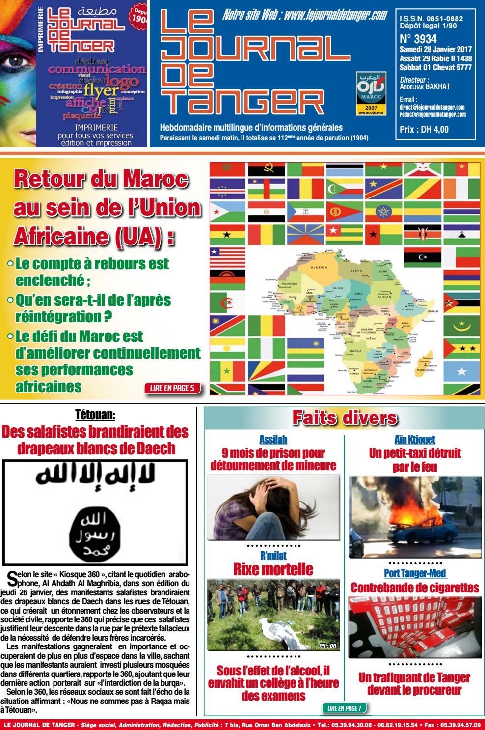 dbc3b6ee9 Le journal de Tanger 28 janvier 2017 by Le Journal de Tanger - issuu