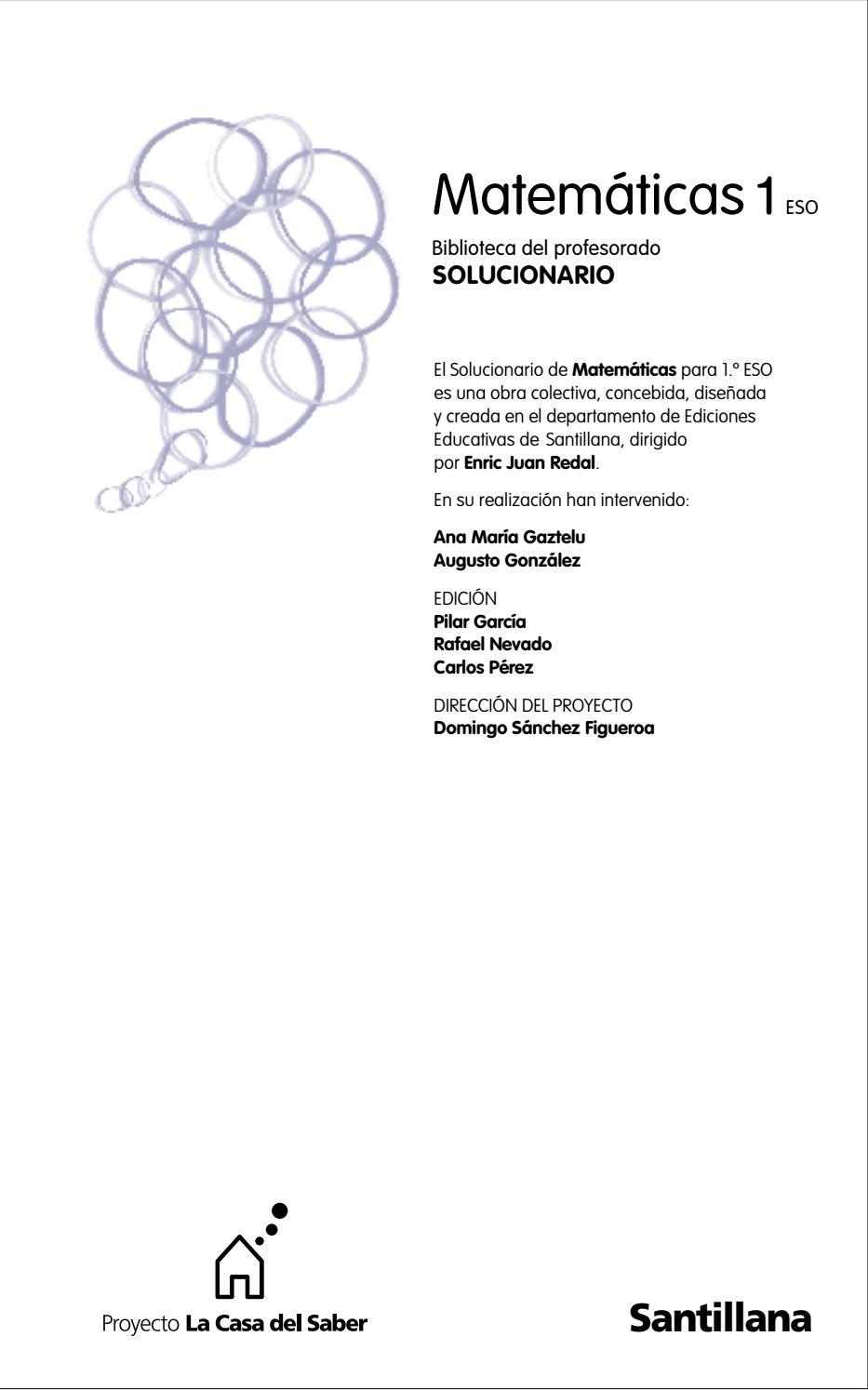 1º Eso Solucionario Matemáticas Santillana Pdf By Hugo Guzman Issuu