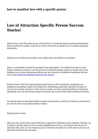 Manifesting love with a specific person