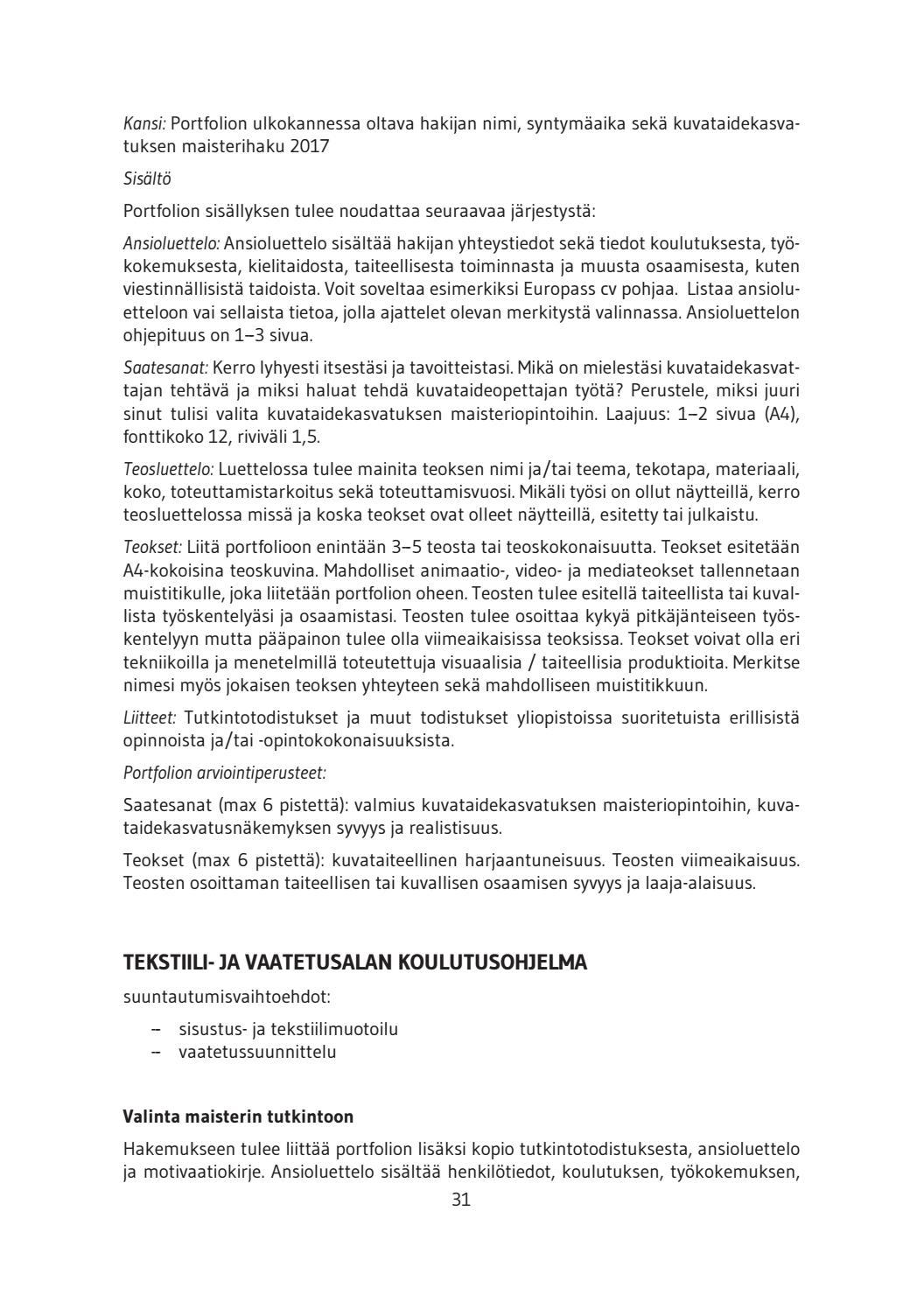 lapin yliopisto  taiteiden tiedekunta  valintaopas 2017 by ulapland