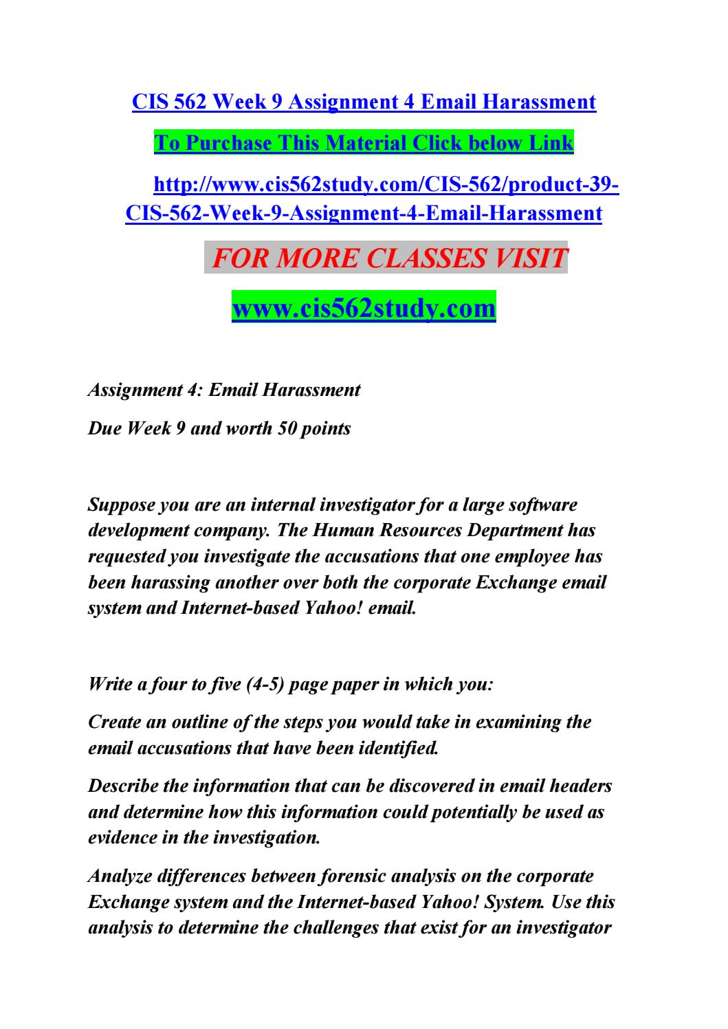 Cis 562 Week 9 Assignment 4 Email Harassment By Jyothi4 Issuu