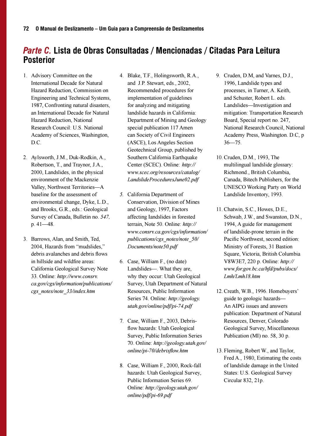 O manual de deslizamento – um guia para a compreensão de