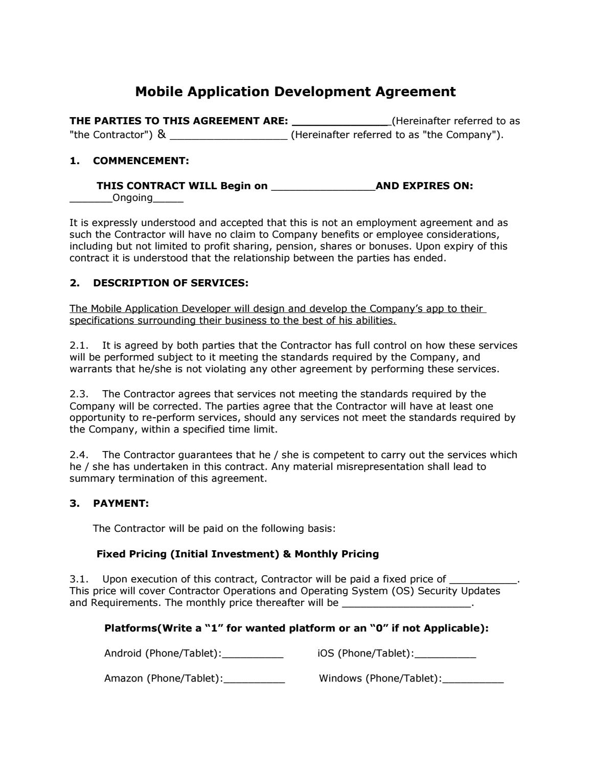 Mobile Application Development Agreement By Eli Wheaton
