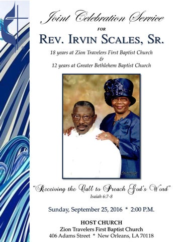 Pastor Irvin Scales Anniversary Program By Our Celebrations Of Life