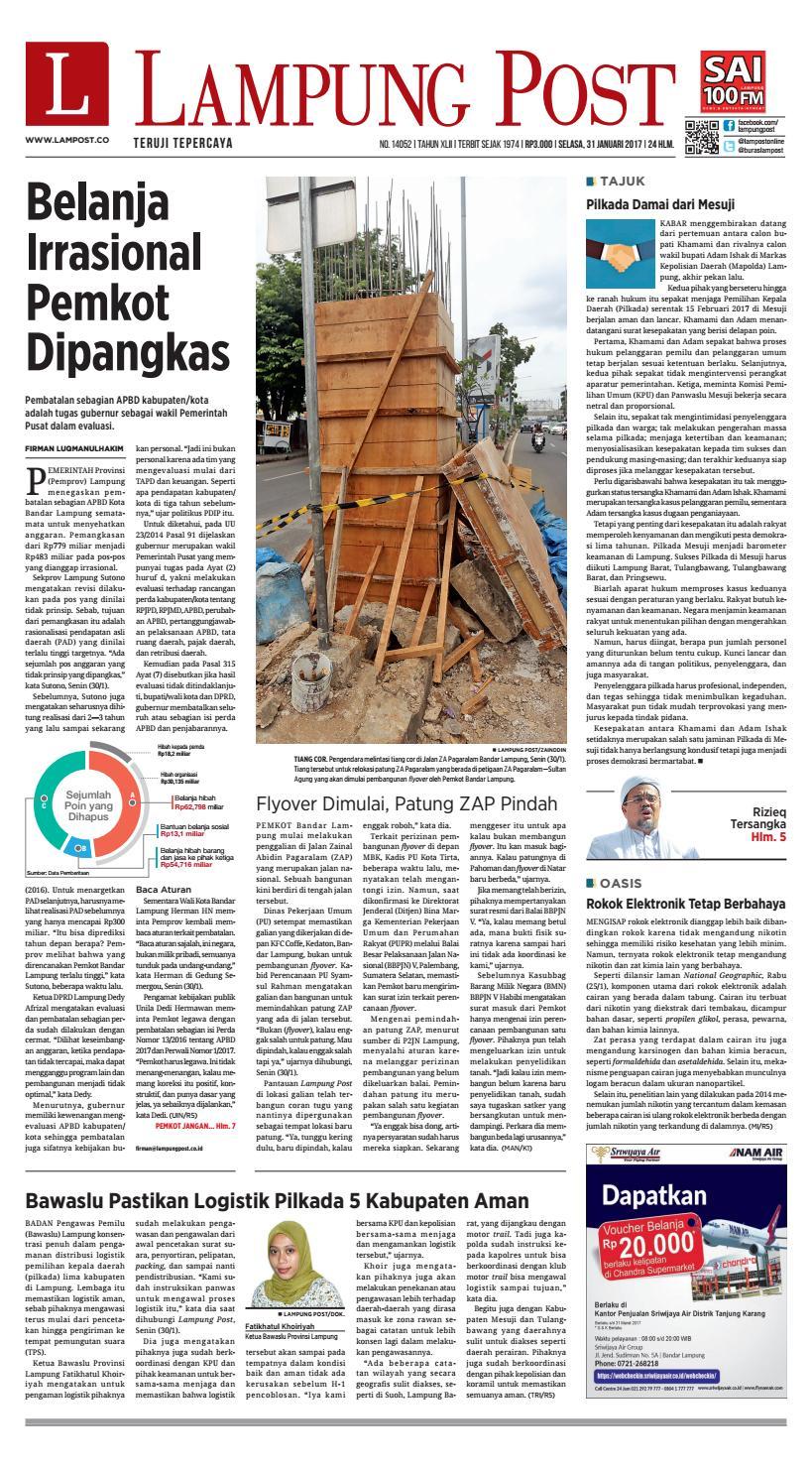 Lampung Post Selasa 31 Januari 2017 By Issuu Produk Ukm Bumn Sulam Usus Pmk