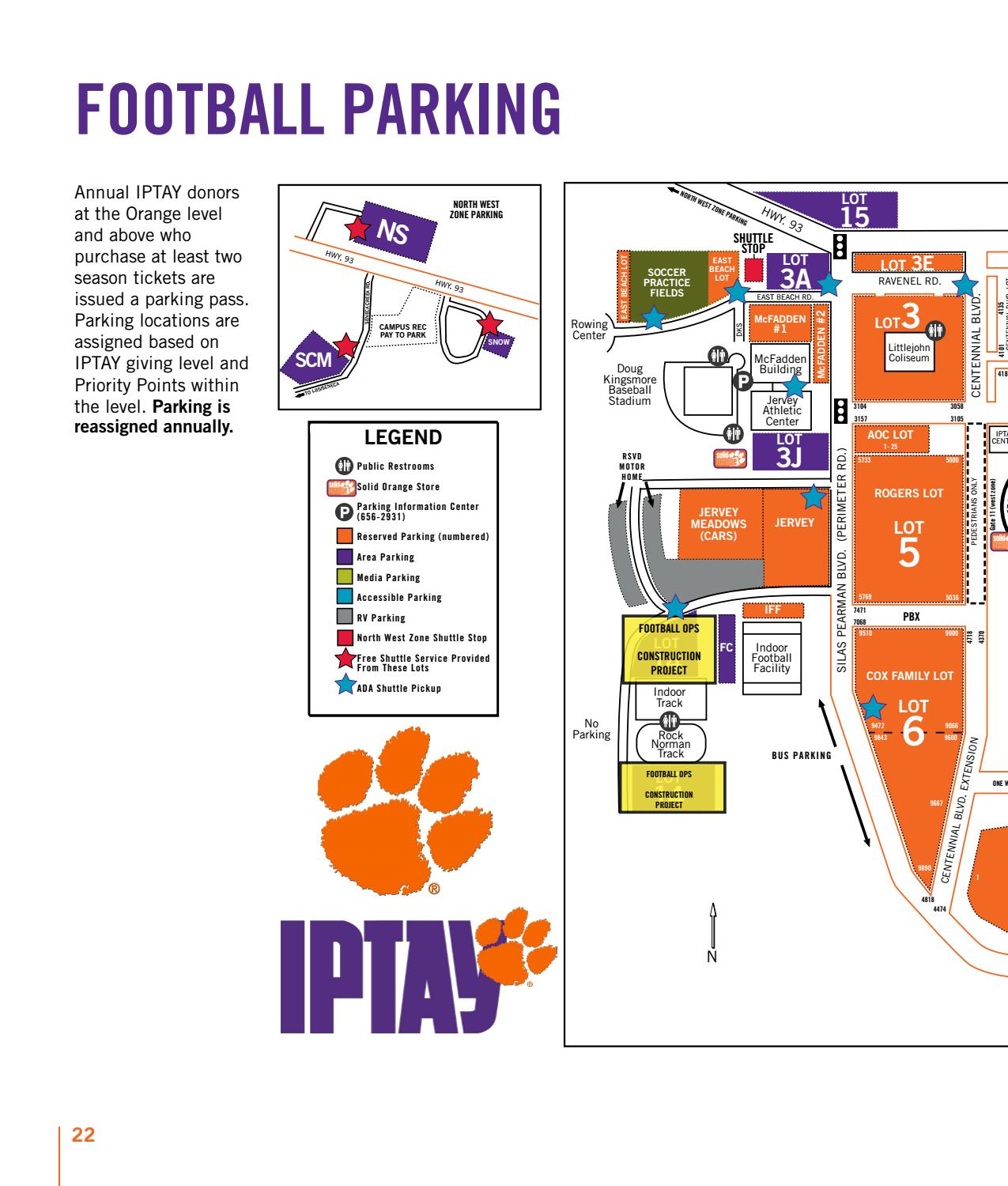 Clemson Football Parking Map on