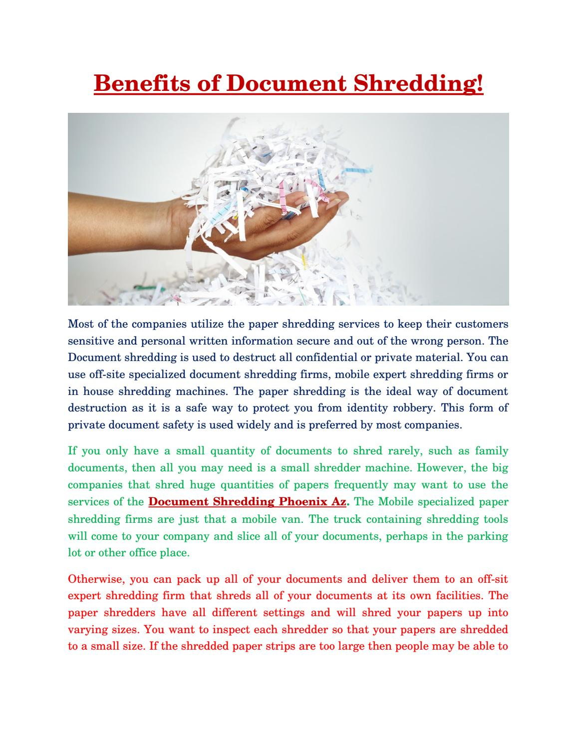 Benefits of document shredding security data destruction by Security