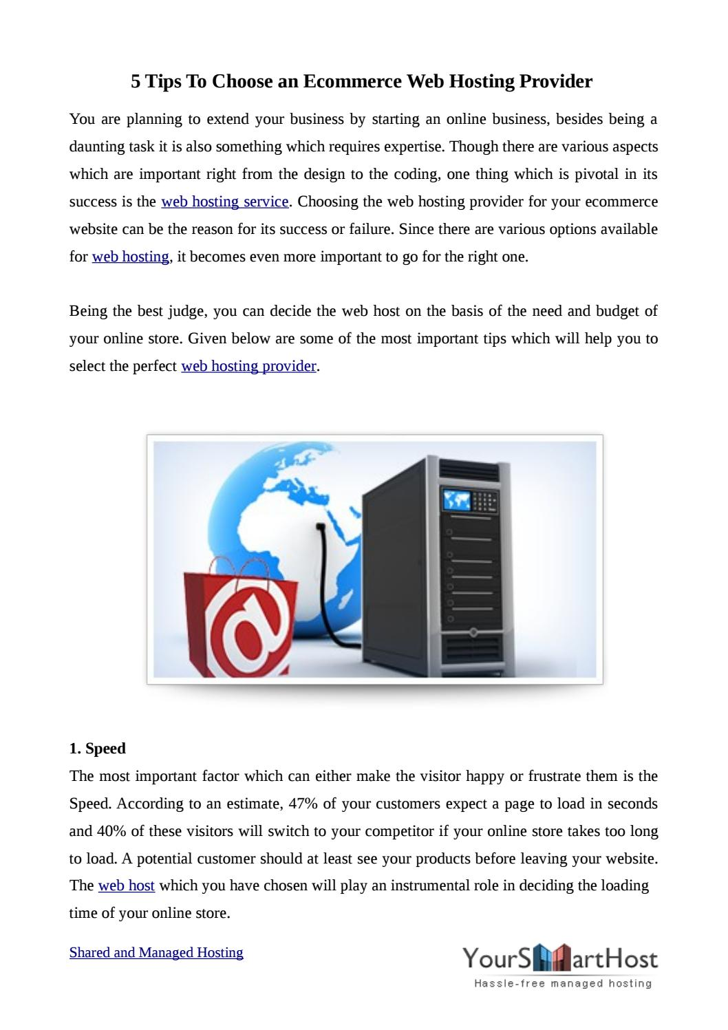 5 Services To Look For In An Ecommerce Web Hosting Provider By Yoursmarthost Issuu