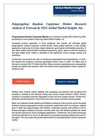 Pdf polypropylene random copolymer market by Global Market Insights