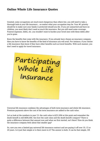 Online Whole Life Insurance Quotes Impressive Online Whole Life Insurance Quotes.direfulpodium8654  Issuu