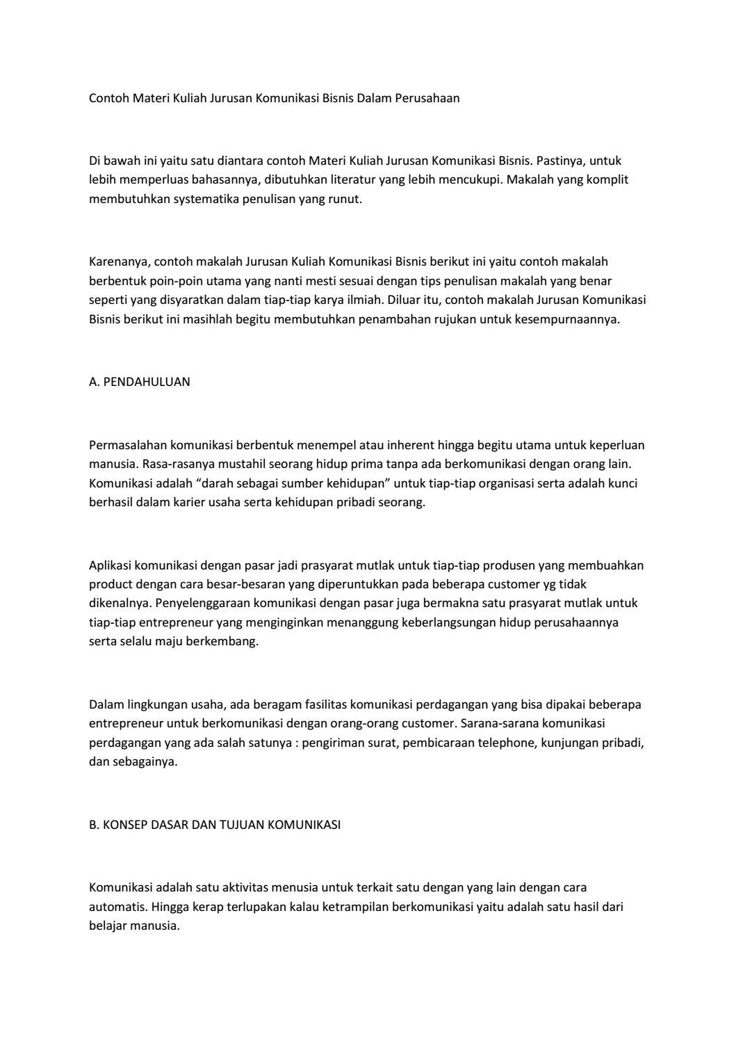 Jurusan Kuliah Komunikasi Bisnis By Perawatanwajah Issuu