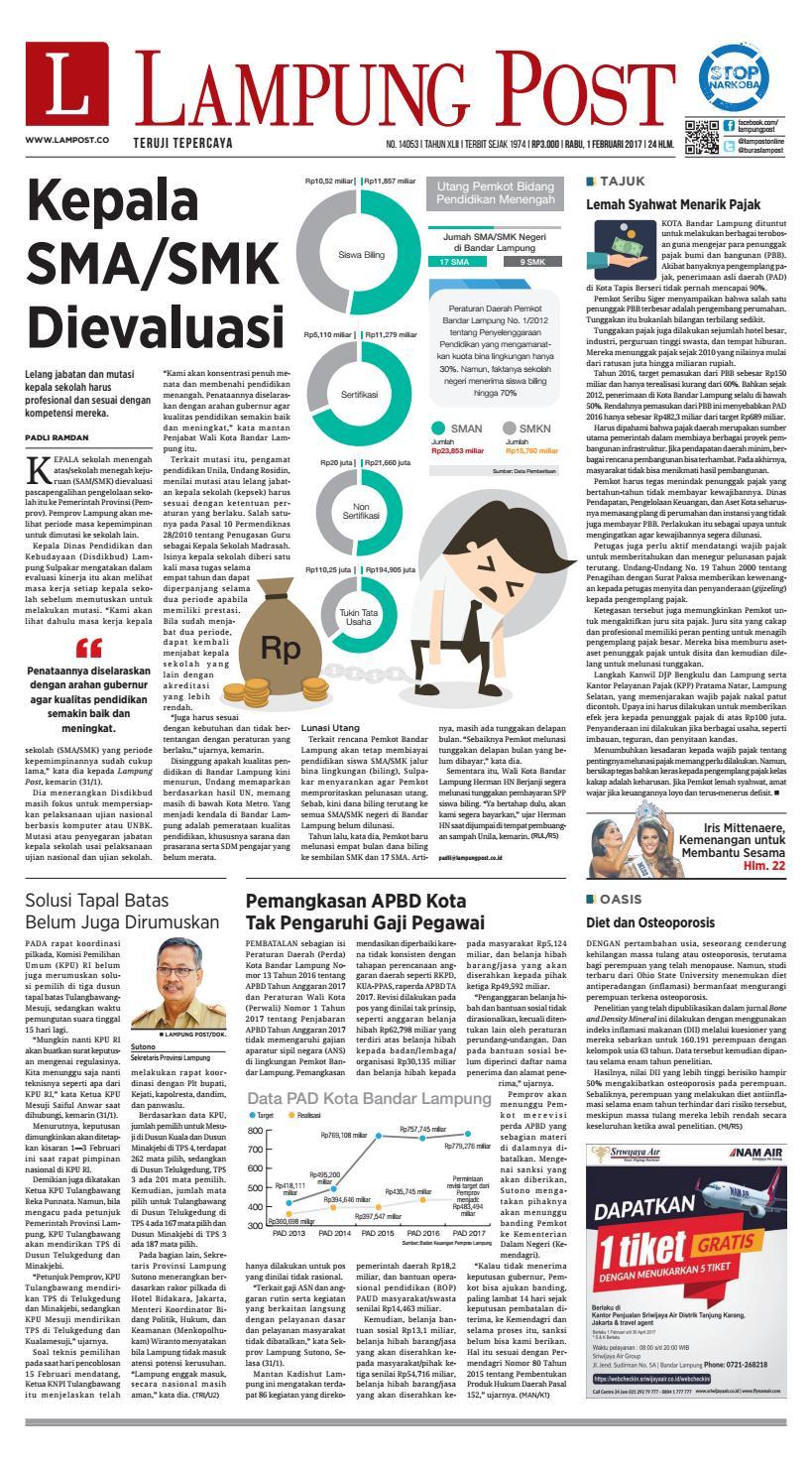Lampung Post Rabu 1 Februari 2017 By Issuu Produk Ukm Bumn Tekiro Tang Kombinasi 7