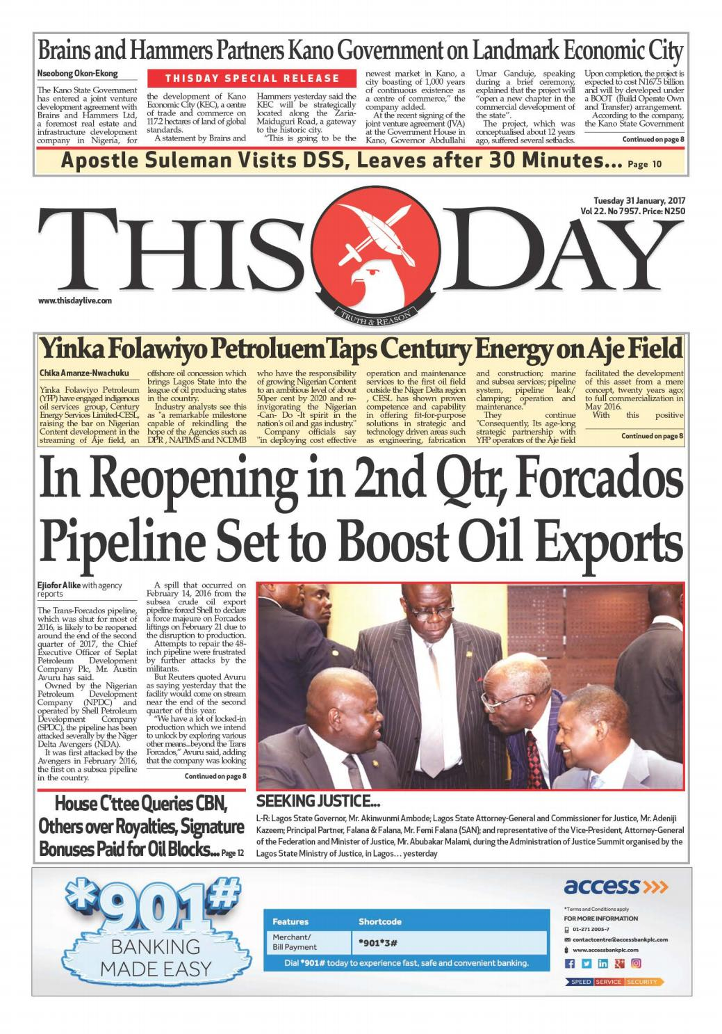 Tuesday 31st January 2017 by THISDAY Newspapers Ltd - issuu