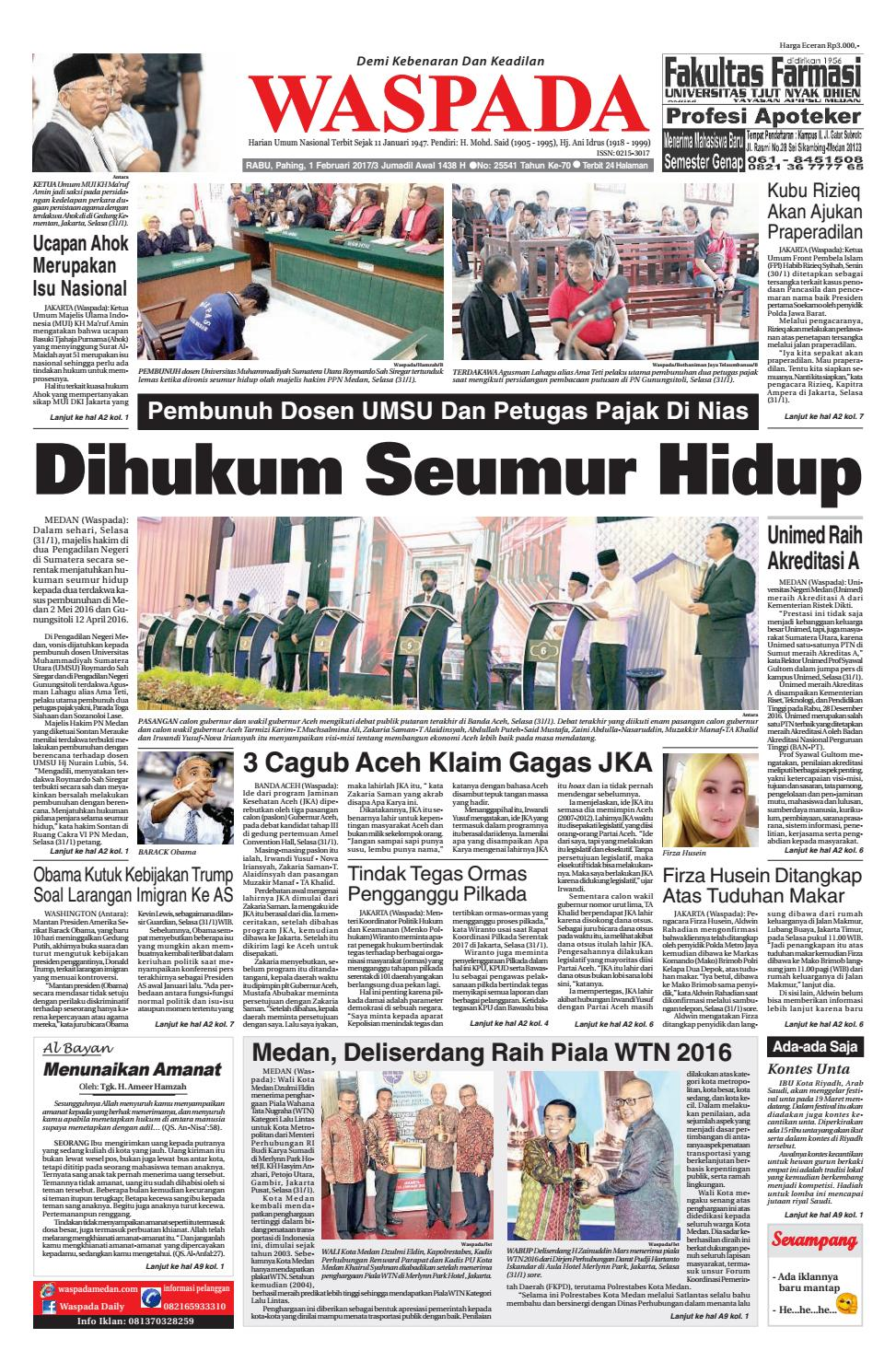 Waspadarabu 1 Februari 2017 By Waspada Daily Issuu Kopi Bos Ila Arifin Amr
