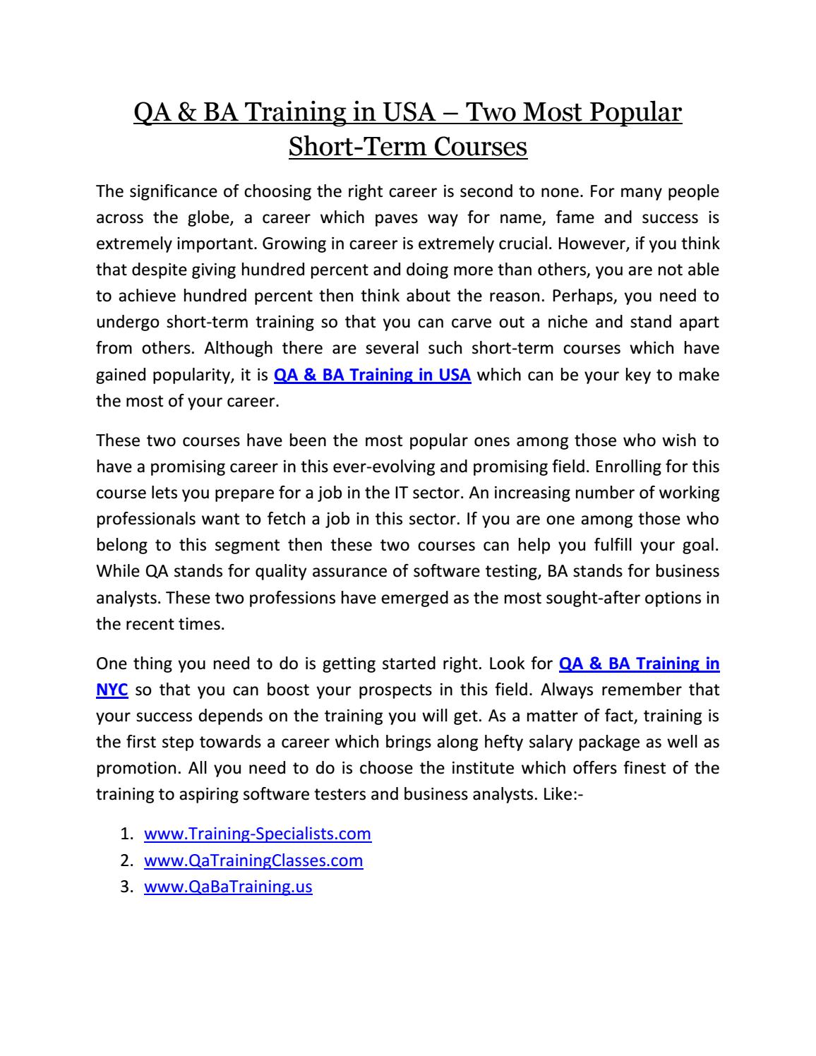Qa U0026 Ba Training In Usa Two Most Popular Short Term Courses By  Trainingspecialist   Issuu  Ba Stands For