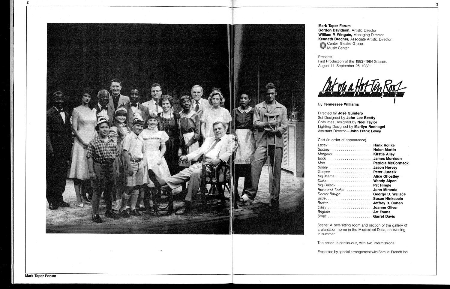 1983—Cat on a Hot Tin Roof by Center Theatre Group - issuu