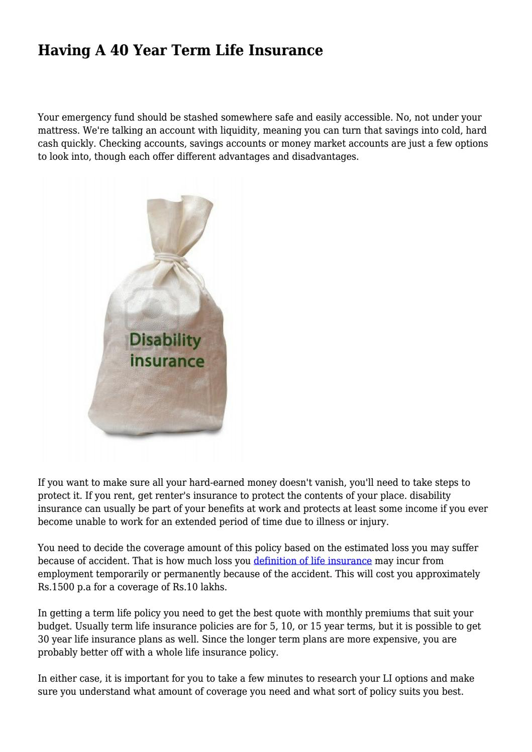 30 Year Term Life Insurance Quotes Having A 40 Year Term Life Insurance.daughertygjypxlrnyq  Issuu