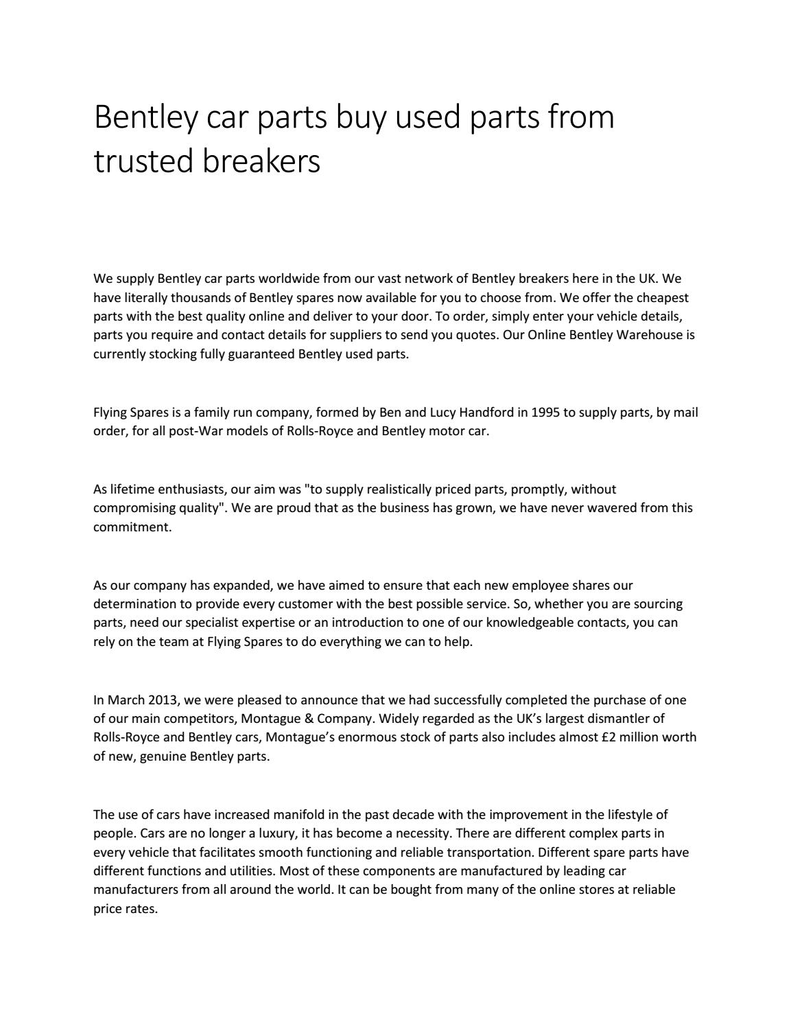 Bentley Car Parts Buy Used Parts From Trusted Breakers