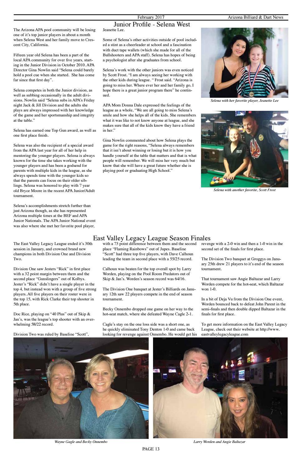Az Billiard & Dart News February 2017 by Mike Howerton - issuu