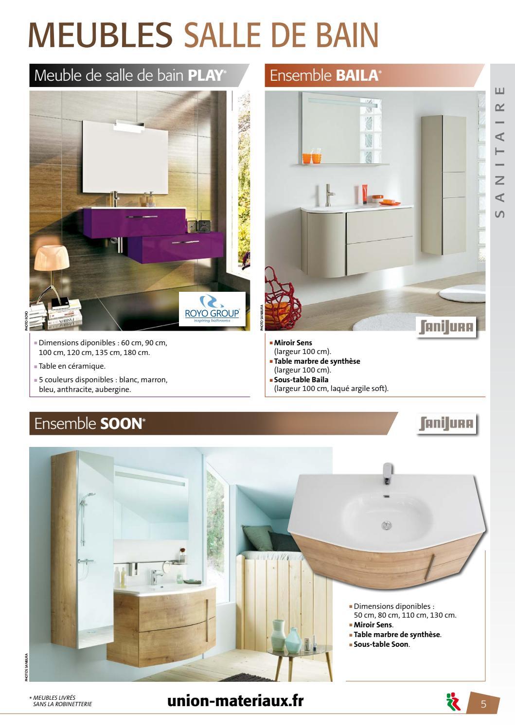 Meuble Salle De Bain Largeur 100 catalogue sanitaire 2017union materiaux - issuu
