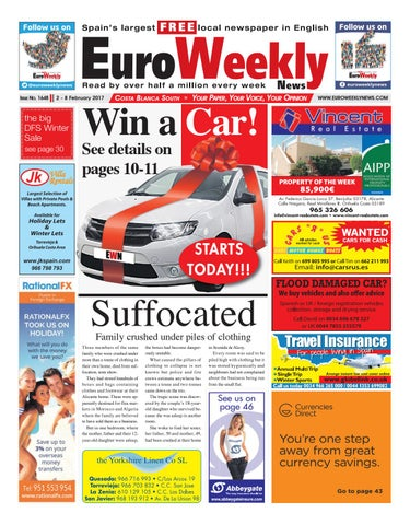 Euro weekly news costa blanca south 2 8 february 2017 issue 1648 page 1 fandeluxe Choice Image