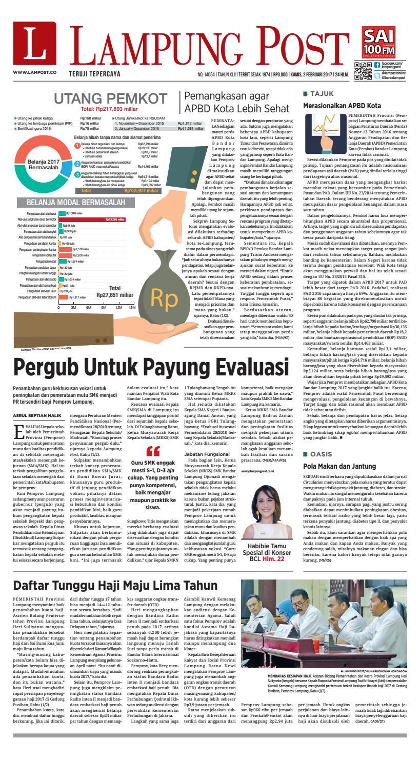 Lampung Post Kamis 2 Februari 2017 By Issuu Produk Ukm Bumn Outer Pendek Ijo Coklat Berkerah