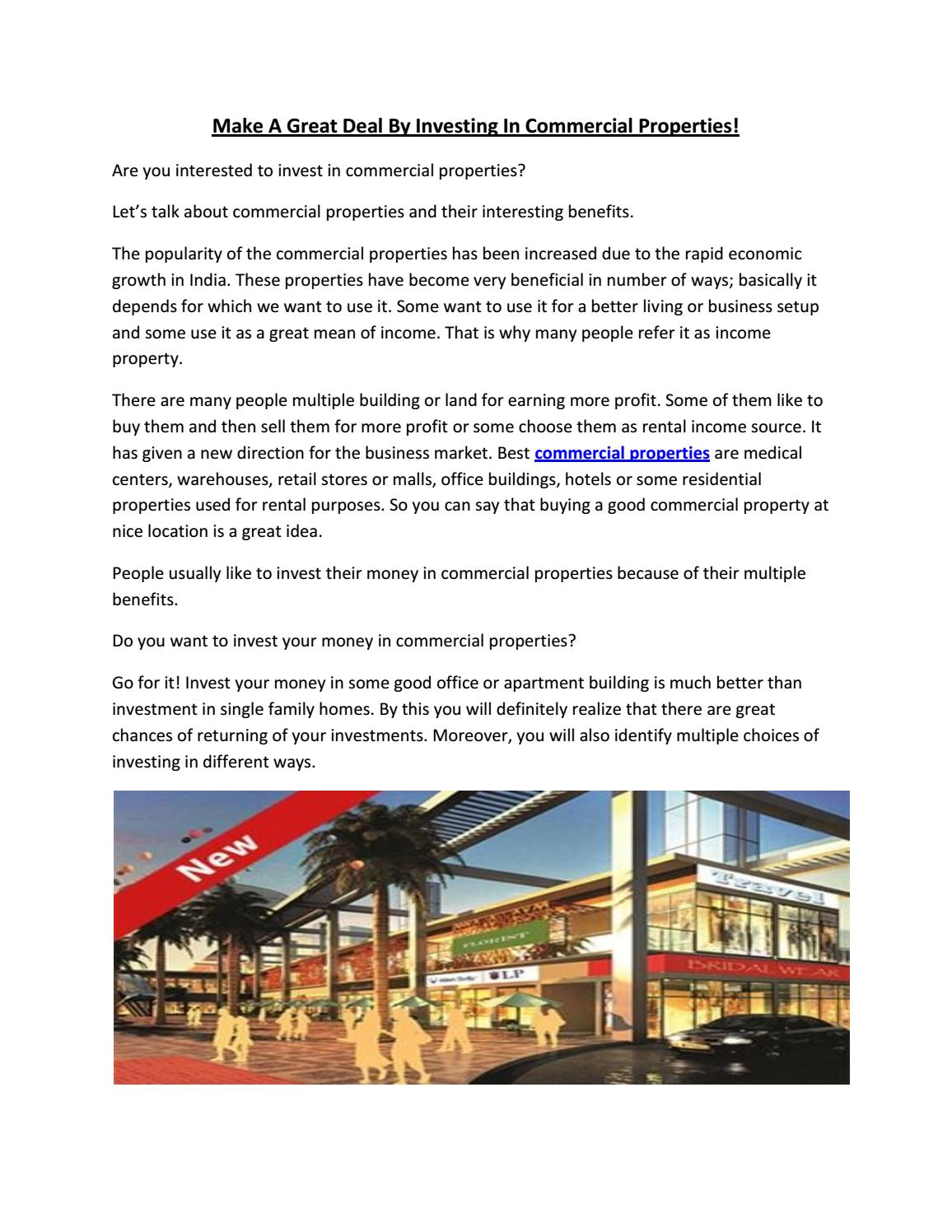Make A Great Deal By Investing In Commercial Properties! By  Commercialpropertyfindaksh   Issuu