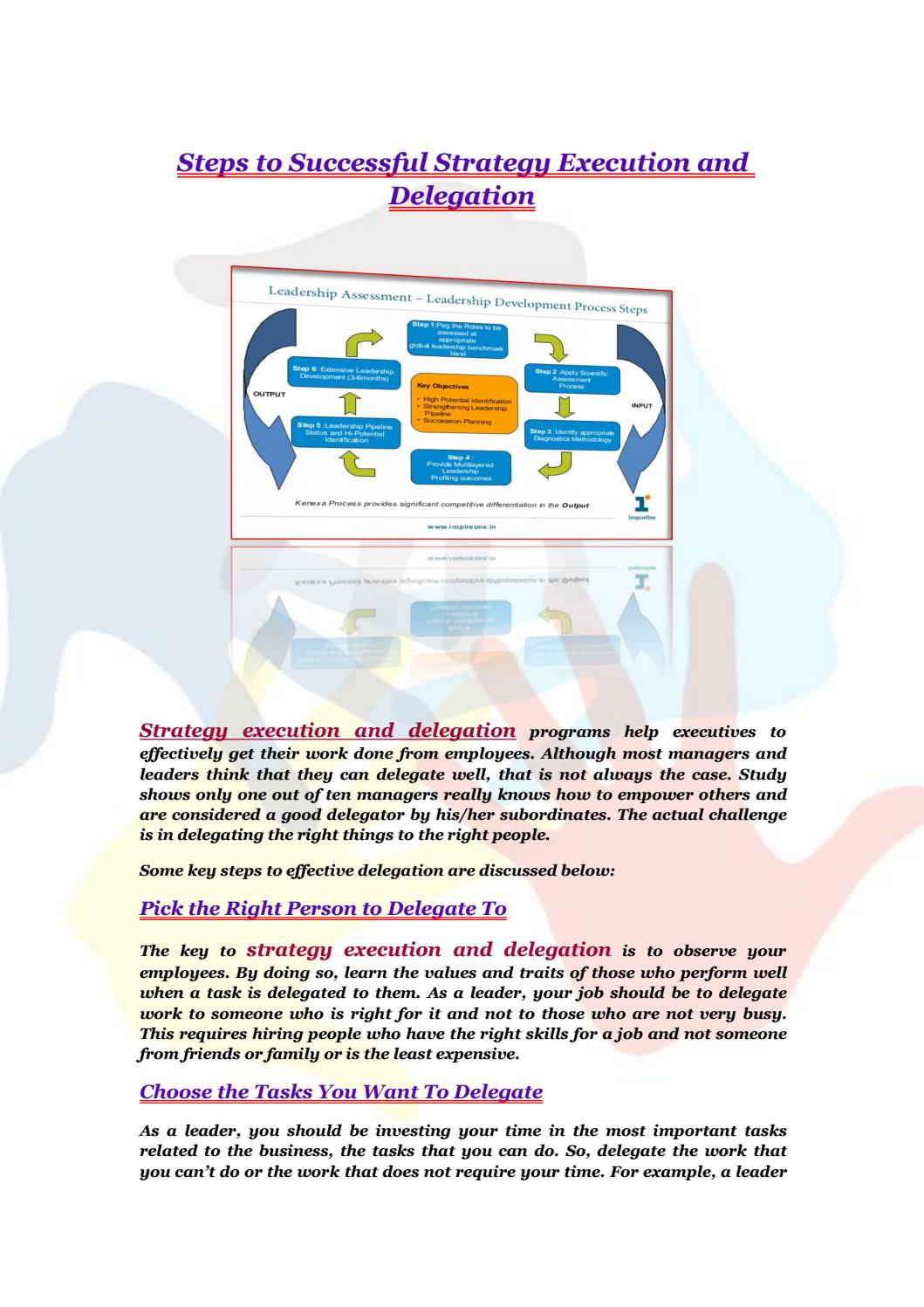 Steps To Successful Strategy Execution And Delegation By