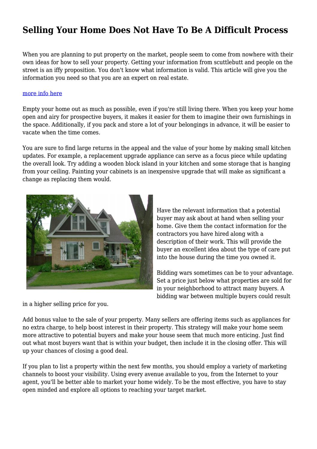 Selling Your Home Does Not Have To Be A Difficult Process... by ...