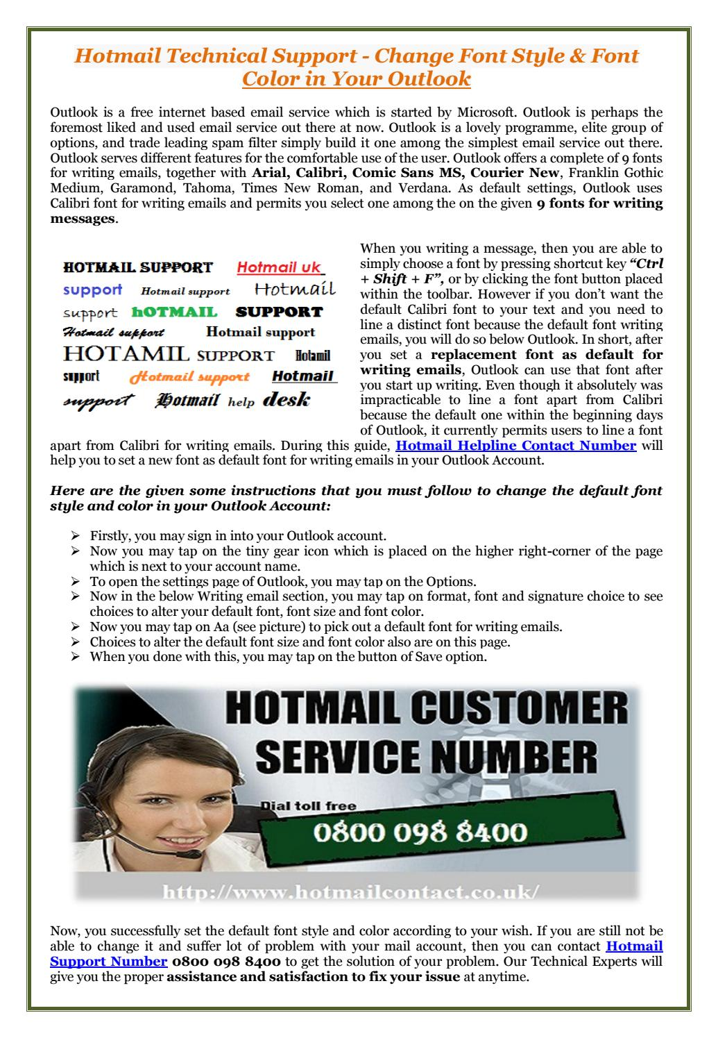 Hotmail Tech Support Change Hotmail Font Style And Color By Hotmail