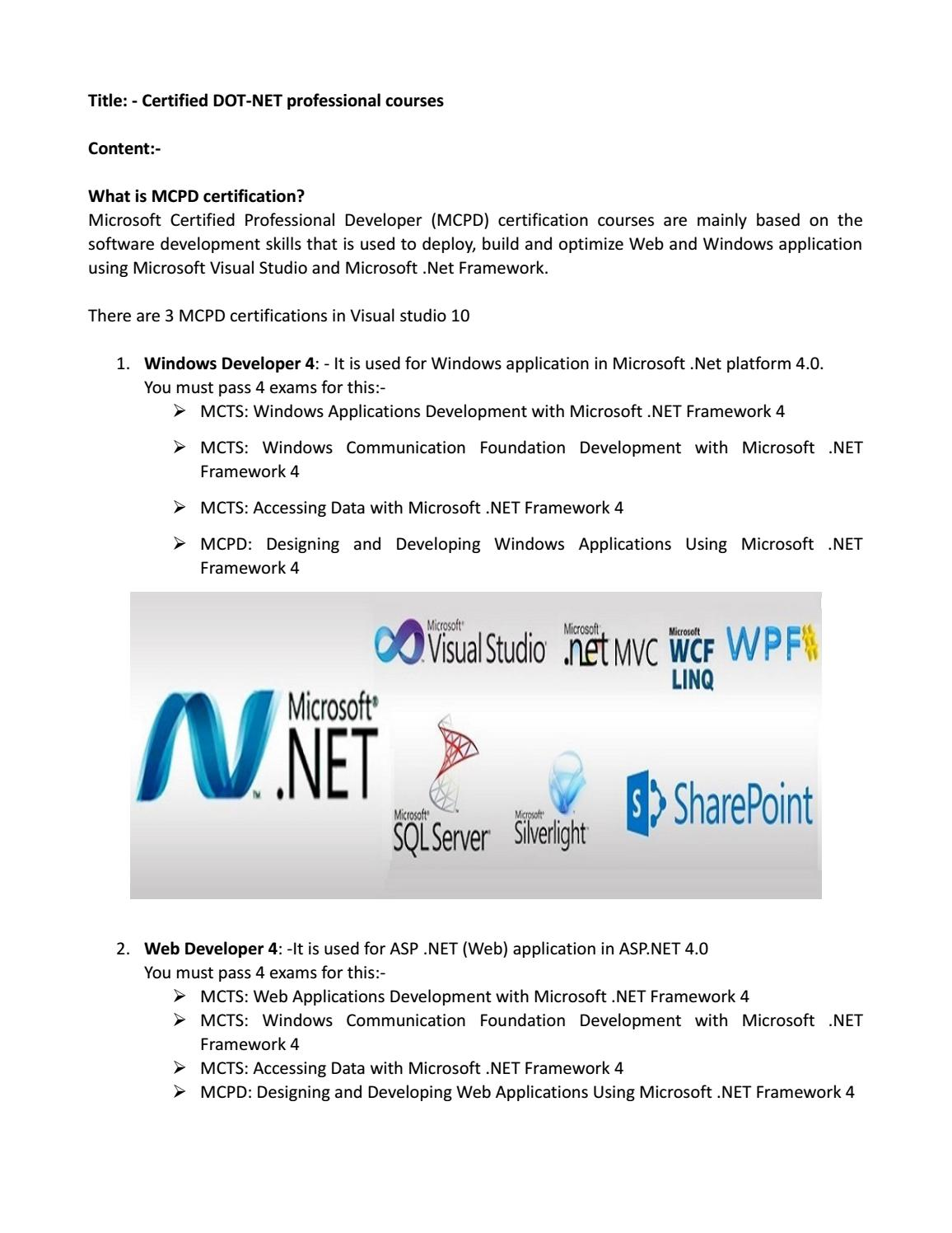 Certified Dot Net Professional Courses By Ds Academy India Issuu