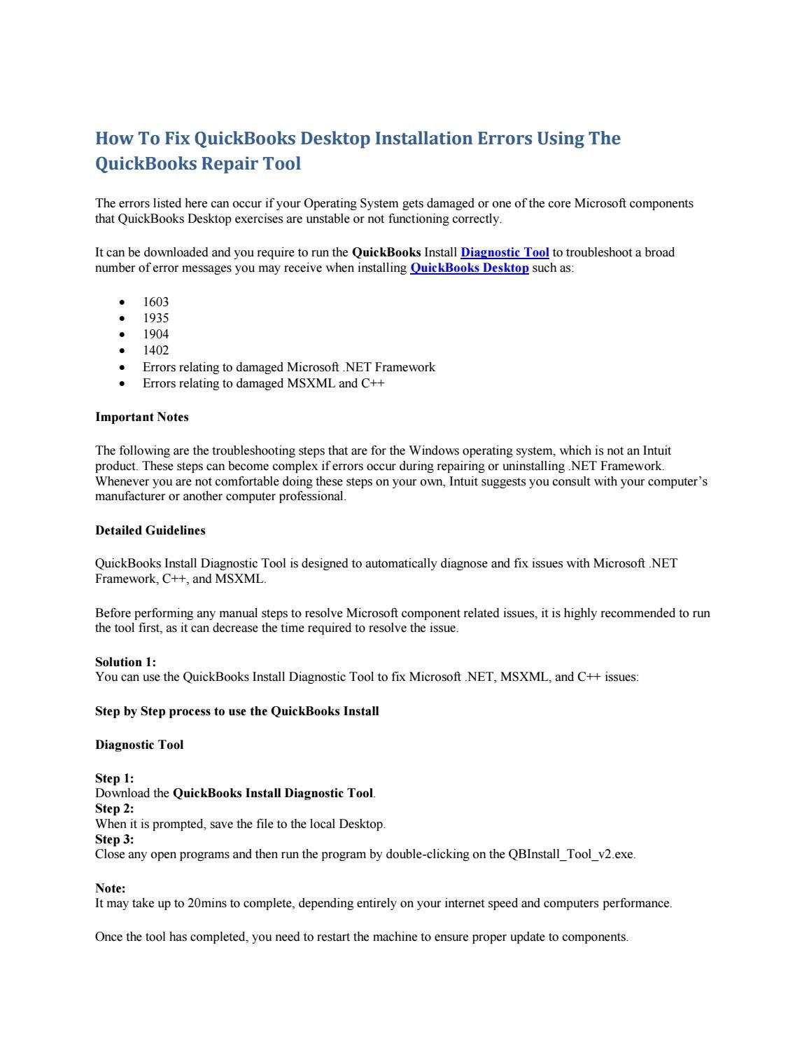 How to fix quickbooks desktop installation errors using the