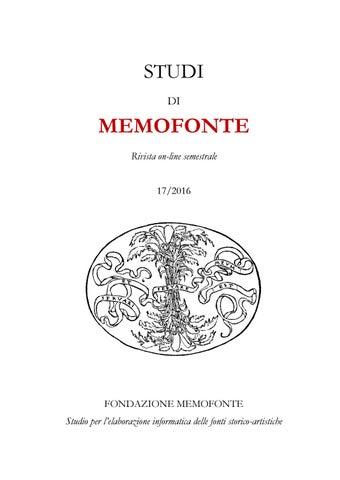 Xvii2016studidimemofonte By Fondazione Memofonte Onlus Issuu