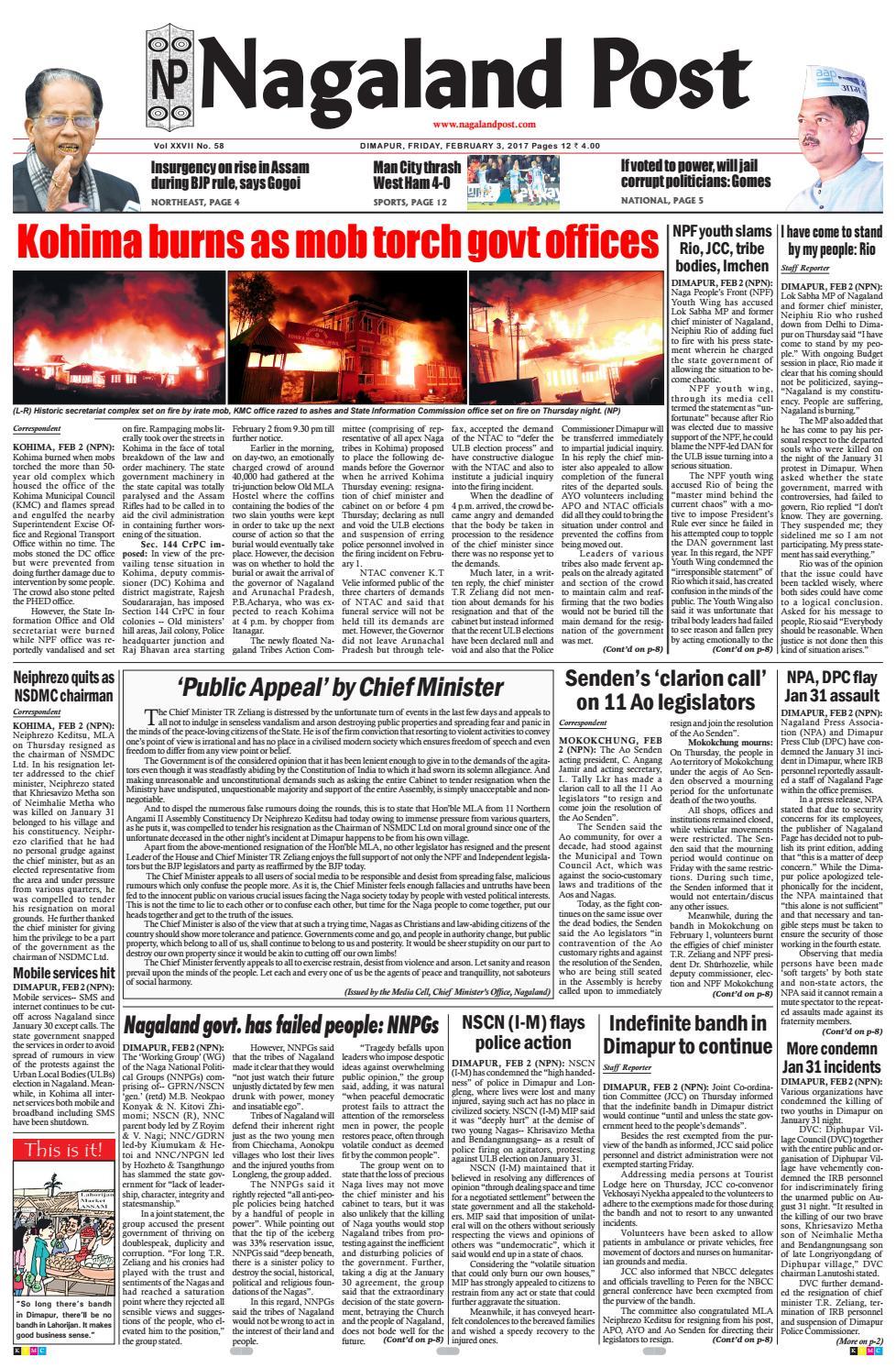 february 3 2017 by nagaland post issuu