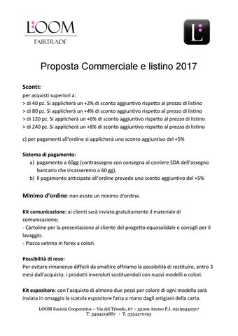 Proposta commerciale e listino 2017 LOOM Fair Trade by Loom Fair Trade - Issuu