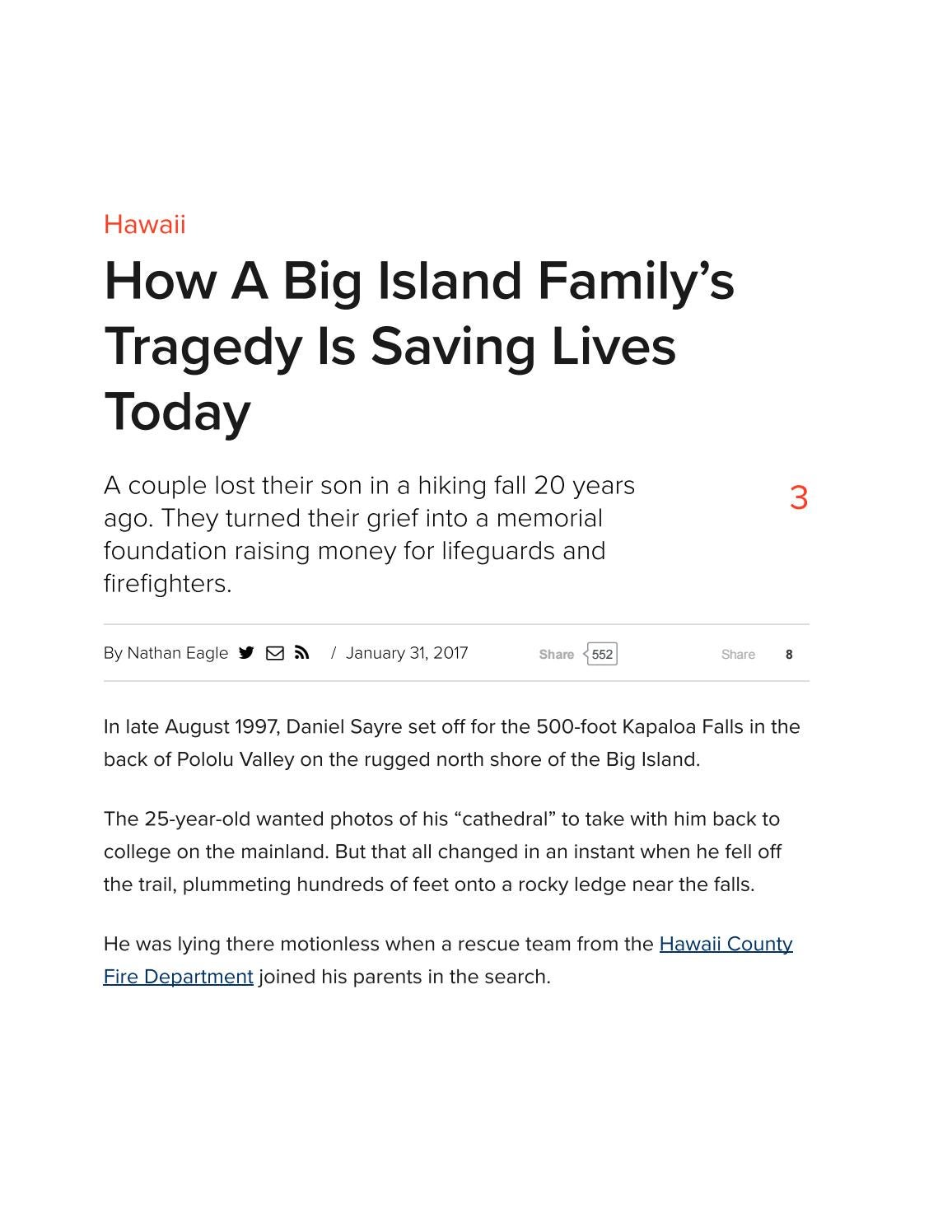 How a Big Island Family's Tragedy is Saving Lives Today by