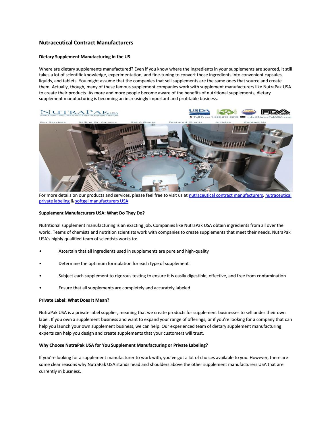 Nutraceutical contract manufacturers by nutrapakusa - issuu