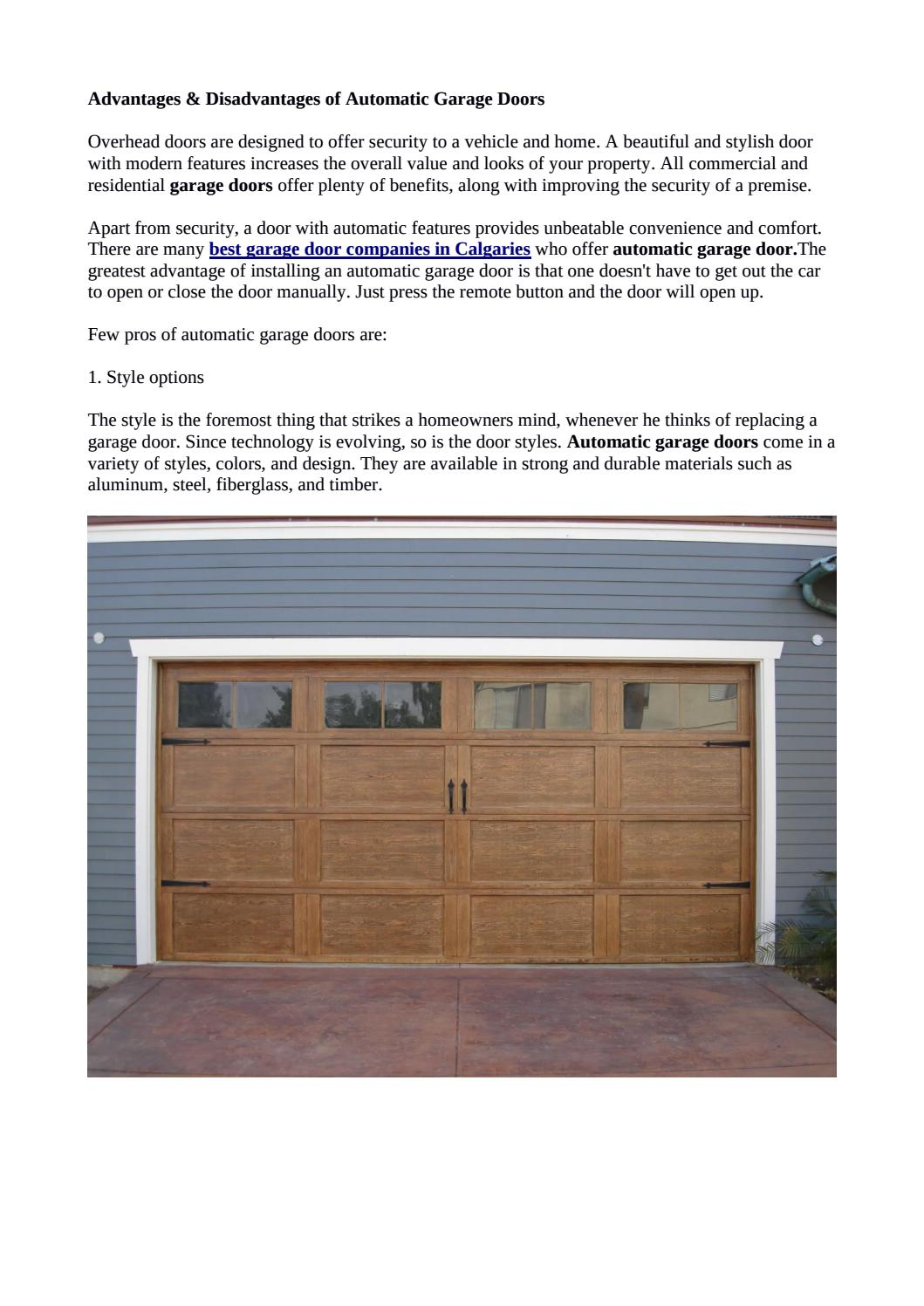 Certain pros and cons of automatic garage doors calgary by repairgaragedoorscalgary issuu