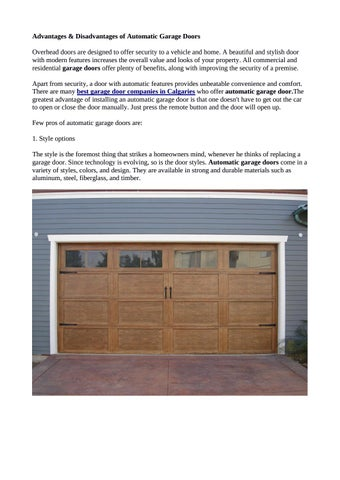 Certain Pros And Cons Of Automatic Garage Doors Calgary By