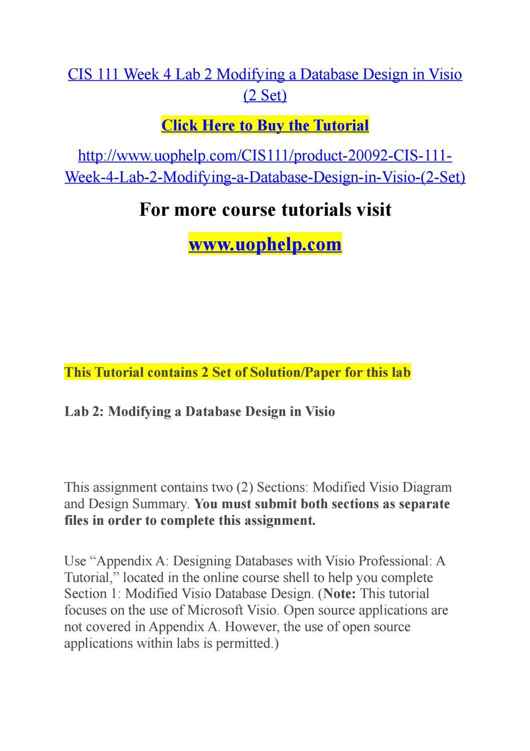 cis 111 week 4 lab 2 modifying a database design in visio 2 set by chcyihiuck issuu - Visio Opensource