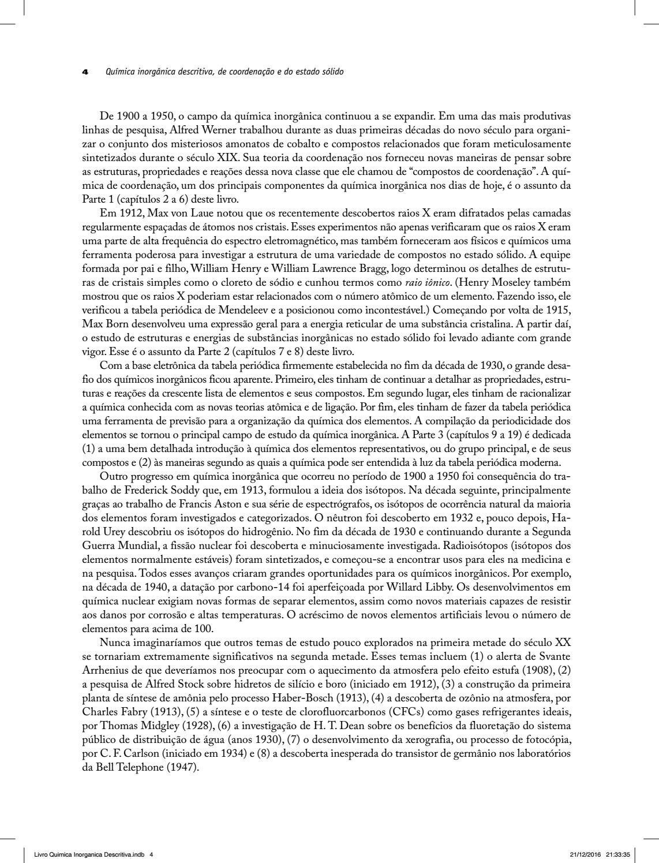 Química Inorgânica Descritiva, de Coordenação e do Estado
