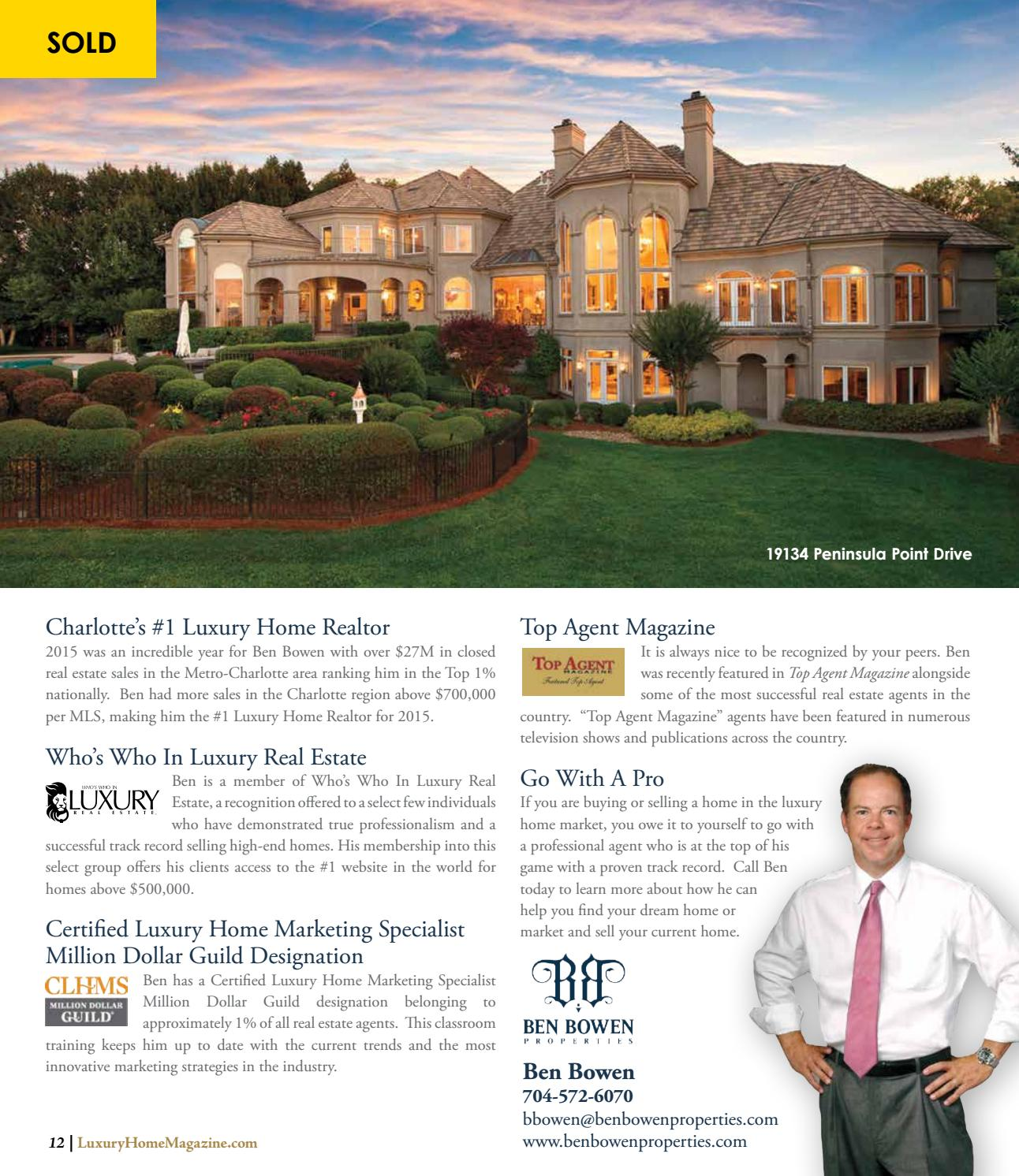Luxury Home Magazine Greater Charlotte Issue 5 1 By Luxury