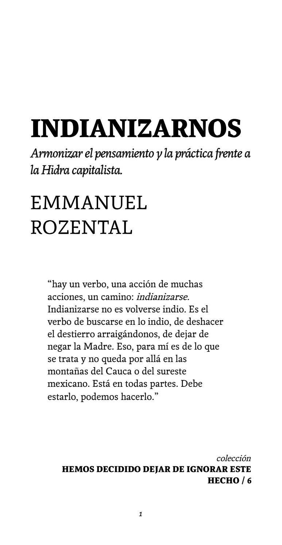 Indianizarnos. Emmanuel Rozental / Hemos decidido dejar de ignorar ...