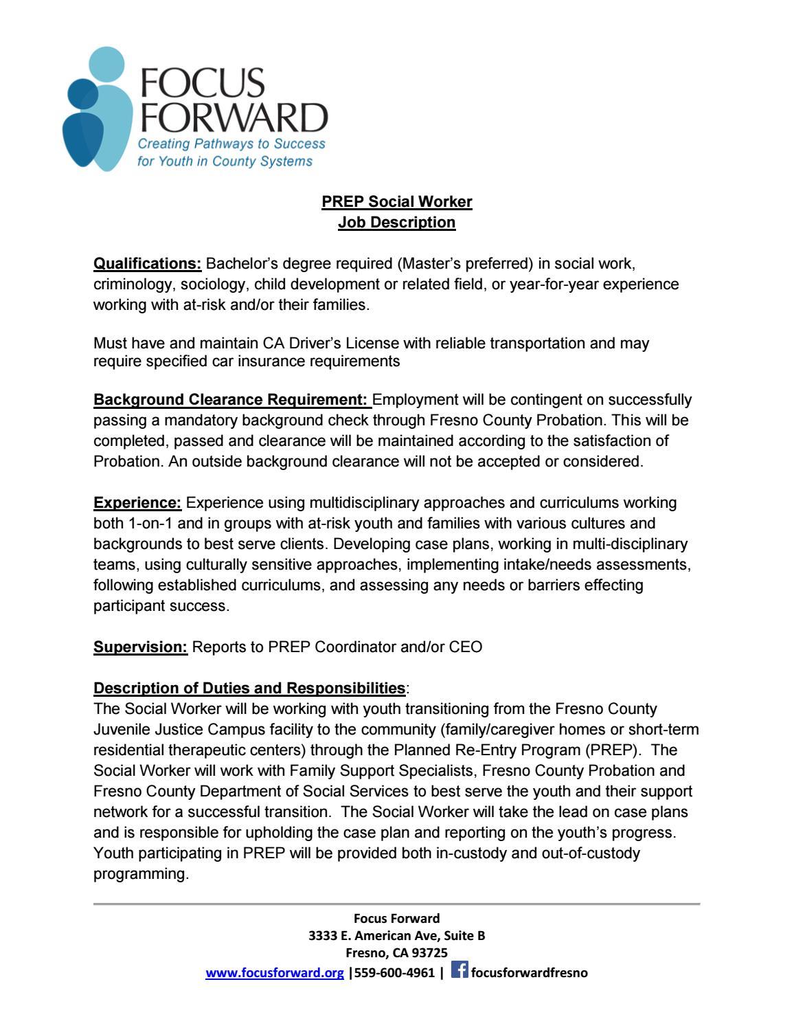 Prep Social Worker Job Description 2017 By Focus Foward Issuu